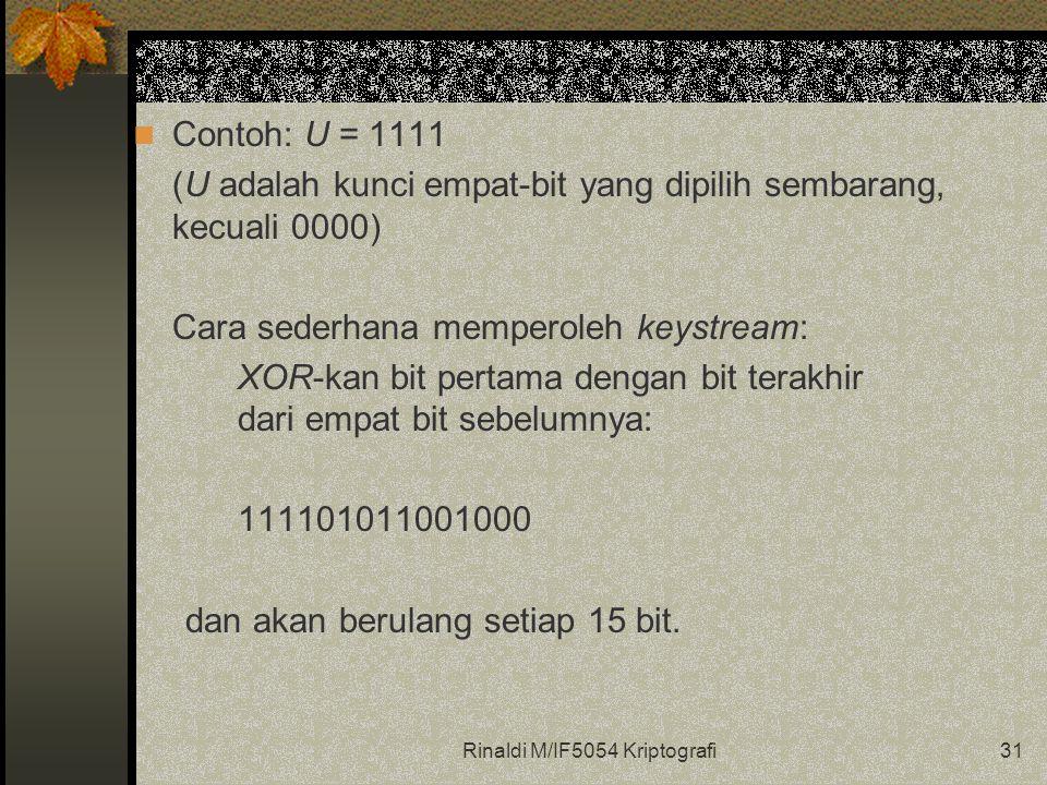 Rinaldi M/IF5054 Kriptografi31 Contoh: U = 1111 (U adalah kunci empat-bit yang dipilih sembarang, kecuali 0000) Cara sederhana memperoleh keystream: XOR-kan bit pertama dengan bit terakhir dari empat bit sebelumnya: 111101011001000 dan akan berulang setiap 15 bit.