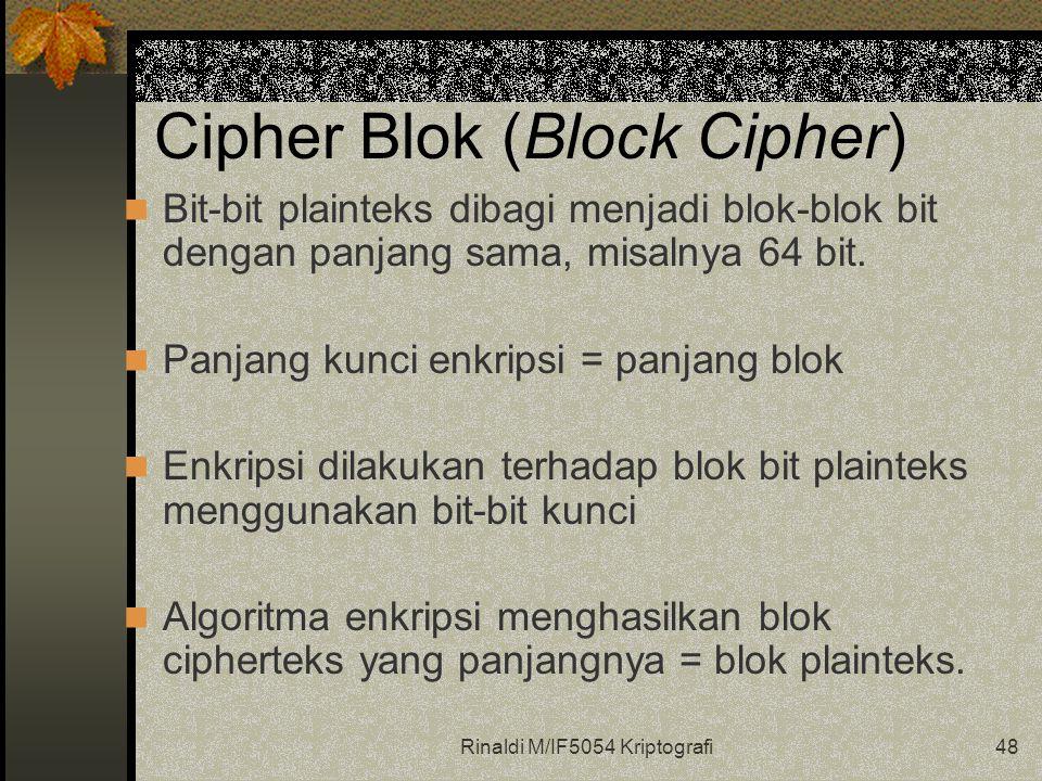 Rinaldi M/IF5054 Kriptografi48 Cipher Blok (Block Cipher) Bit-bit plainteks dibagi menjadi blok-blok bit dengan panjang sama, misalnya 64 bit. Panjang