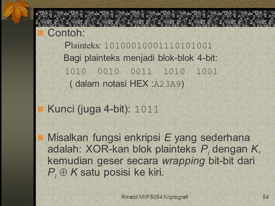 Rinaldi M/IF5054 Kriptografi54 Contoh: P lainteks: 10100010001110101001 Bagi plainteks menjadi blok-blok 4-bit: 1010 0010 0011 1010 1001 ( dalam notasi HEX : A23A9 ) Kunci (juga 4-bit): 1011 Misalkan fungsi enkripsi E yang sederhana adalah: XOR-kan blok plainteks P i dengan K, kemudian geser secara wrapping bit-bit dari P i  K satu posisi ke kiri.