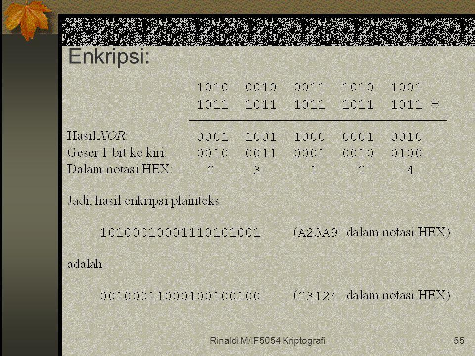 Rinaldi M/IF5054 Kriptografi55 Enkripsi: