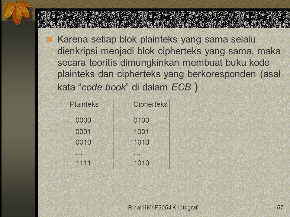 Rinaldi M/IF5054 Kriptografi57 Karena setiap blok plainteks yang sama selalu dienkripsi menjadi blok cipherteks yang sama, maka secara teoritis dimungkinkan membuat buku kode plainteks dan cipherteks yang berkoresponden (asal kata code book di dalam ECB ) PlainteksCipherteks 00000100 00011001 00101010… 11111010