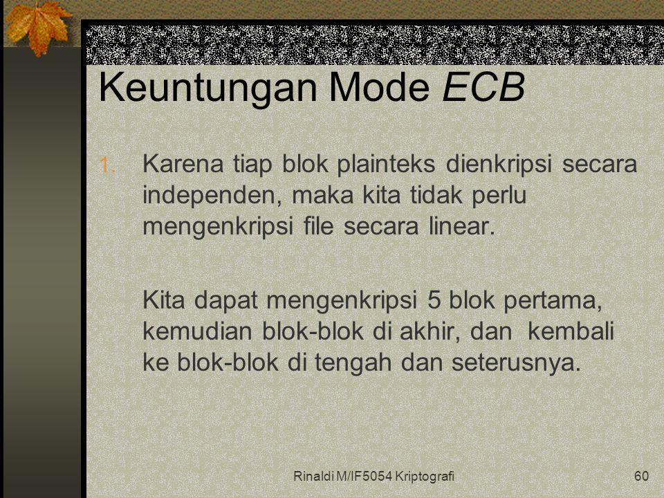 Rinaldi M/IF5054 Kriptografi60 Keuntungan Mode ECB 1.