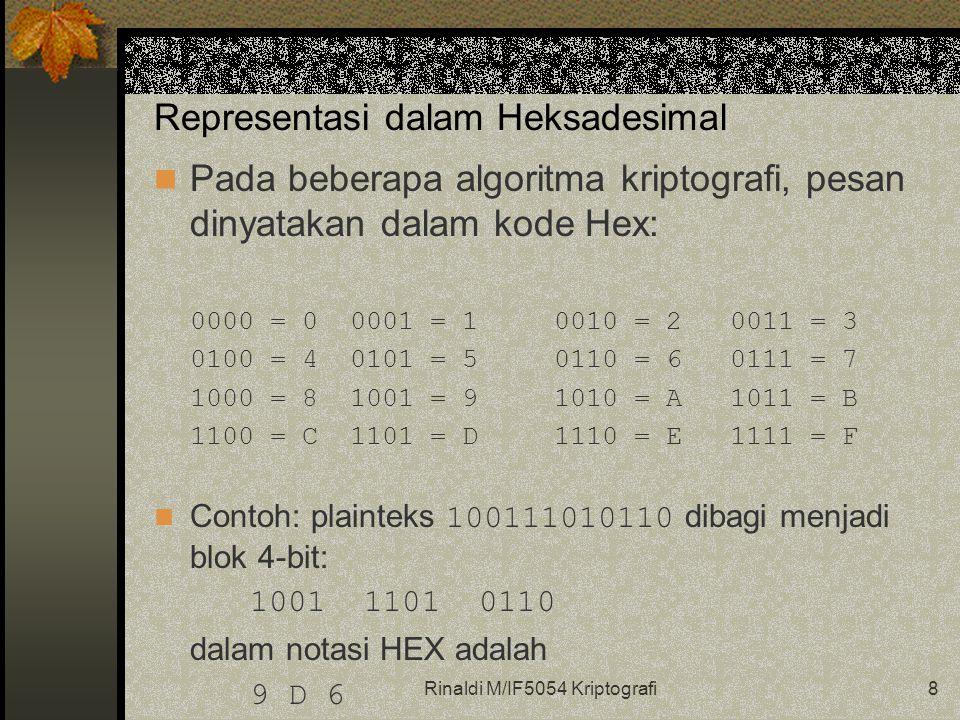 Rinaldi M/IF5054 Kriptografi8 Representasi dalam Heksadesimal Pada beberapa algoritma kriptografi, pesan dinyatakan dalam kode Hex: 0000 = 0 0001 = 1 0010 = 20011 = 3 0100 = 4 0101 = 5 0110 = 60111 = 7 1000 = 8 1001 = 9 1010 = A1011 = B 1100 = C 1101 = D 1110 = E1111 = F Contoh: plainteks 100111010110 dibagi menjadi blok 4-bit: 1001 1101 0110 dalam notasi HEX adalah 9 D 6