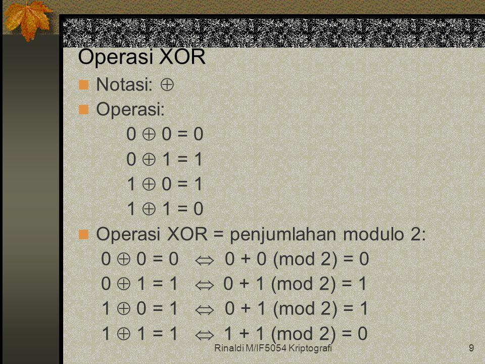 Rinaldi M/IF5054 Kriptografi9 Operasi XOR Notasi:  Operasi: 0  0 = 0 0  1 = 1 1  0 = 1 1  1 = 0 Operasi XOR = penjumlahan modulo 2: 0  0 = 0  0 + 0 (mod 2) = 0 0  1 = 1  0 + 1 (mod 2) = 1 1  0 = 1  0 + 1 (mod 2) = 1 1  1 = 1  1 + 1 (mod 2) = 0