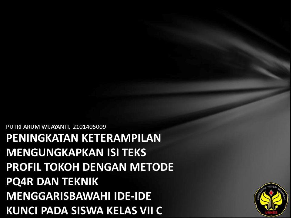 Identitas Mahasiswa - NAMA : PUTRI ARUM WIJAYANTI - NIM : 2101405009 - PRODI : Pendidikan Bahasa, Sastra Indonesia, dan Daerah (Pendidikan Bahasa dan Sastra Indonesia) - JURUSAN : Bahasa & Sastra Indonesia - FAKULTAS : Bahasa dan Seni - EMAIL : dee_cullens pada domain yahoo.com - PEMBIMBING 1 : Drs.Haryadi,M.Pd.