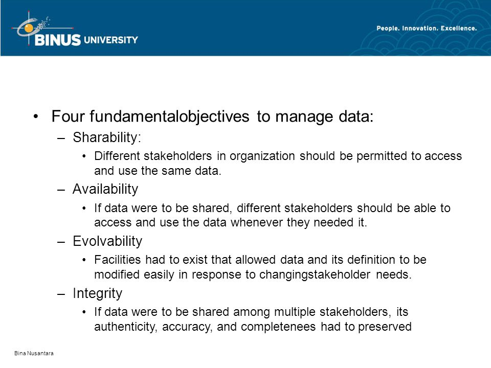 Bina Nusantara Four fundamentalobjectives to manage data: –Sharability: Different stakeholders in organization should be permitted to access and use t