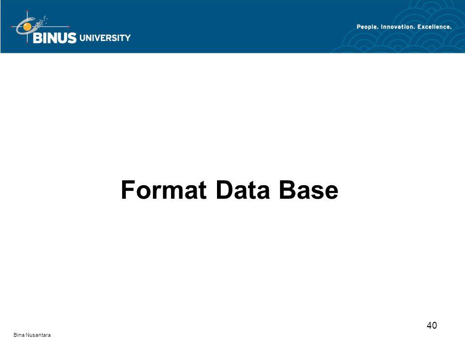 Bina Nusantara Format Data Base 40