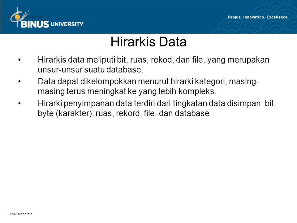 Bina Nusantara Hirarkis Data Hirarkis data meliputi bit, ruas, rekod, dan file, yang merupakan unsur-unsur suatu database.