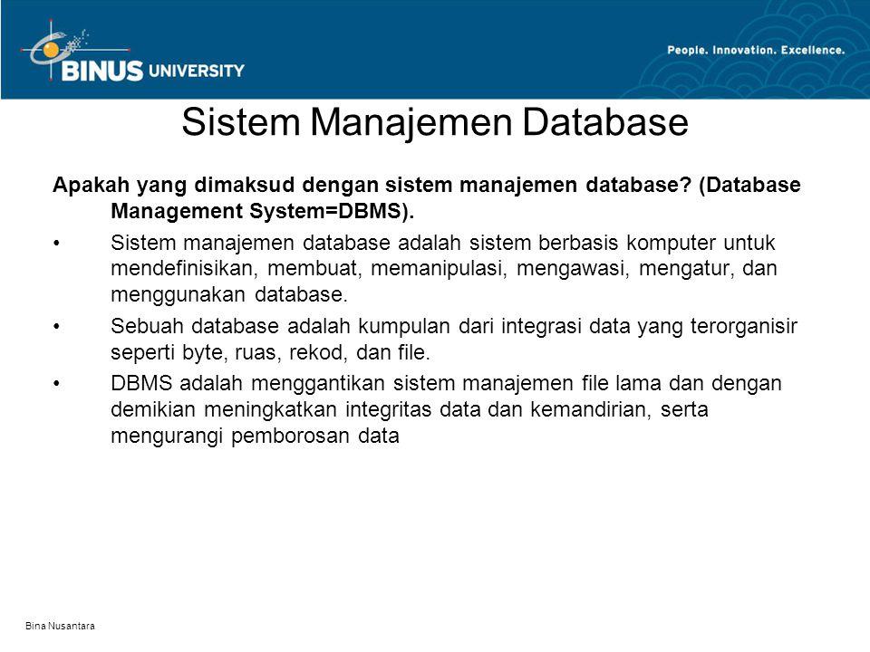 Bina Nusantara Sistem Manajemen Database Apakah yang dimaksud dengan sistem manajemen database.