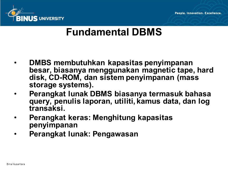 Bina Nusantara Fundamental DBMS DMBS membutuhkan kapasitas penyimpanan besar, biasanya menggunakan magnetic tape, hard disk, CD-ROM, dan sistem penyimpanan (mass storage systems).