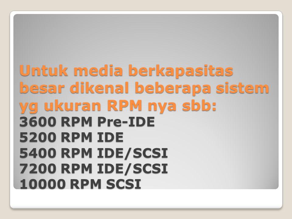 Untuk media berkapasitas besar dikenal beberapa sistem yg ukuran RPM nya sbb: 3600 RPM Pre-IDE 5200 RPM IDE 5400 RPM IDE/SCSI 7200 RPM IDE/SCSI 10000