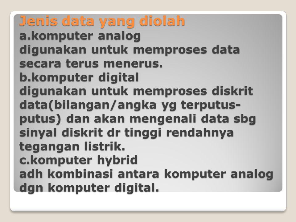 Jenis data yang diolah a.komputer analog digunakan untuk memproses data secara terus menerus. b.komputer digital digunakan untuk memproses diskrit dat