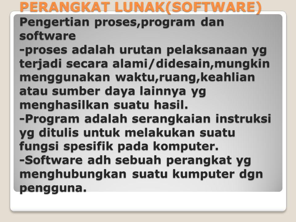 PERANGKAT LUNAK(SOFTWARE) Pengertian proses,program dan software -proses adalah urutan pelaksanaan yg terjadi secara alami/didesain,mungkin menggunaka