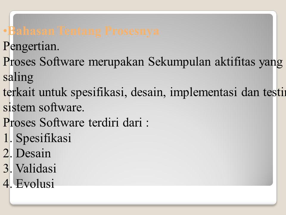 Bahasan Tentang Prosesnya Pengertian. Proses Software merupakan Sekumpulan aktifitas yang saling terkait untuk spesifikasi, desain, implementasi dan t