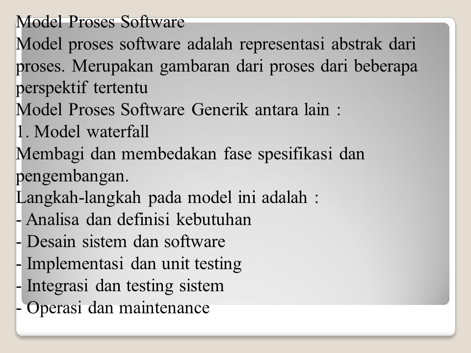 Model Proses Software Model proses software adalah representasi abstrak dari proses. Merupakan gambaran dari proses dari beberapa perspektif tertentu