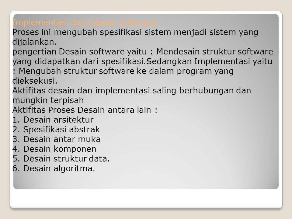 Implementasi dan Desain Software Proses ini mengubah spesifikasi sistem menjadi sistem yang dijalankan. pengertian Desain software yaitu : Mendesain s
