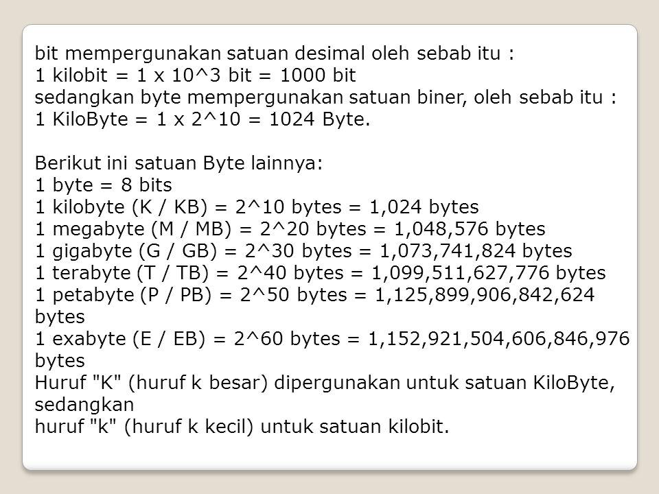 bit mempergunakan satuan desimal oleh sebab itu : 1 kilobit = 1 x 10^3 bit = 1000 bit sedangkan byte mempergunakan satuan biner, oleh sebab itu : 1 Ki