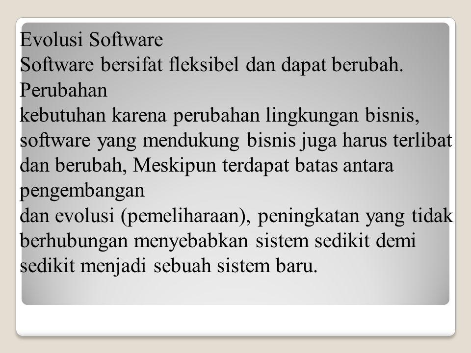 Evolusi Software Software bersifat fleksibel dan dapat berubah. Perubahan kebutuhan karena perubahan lingkungan bisnis, software yang mendukung bisnis