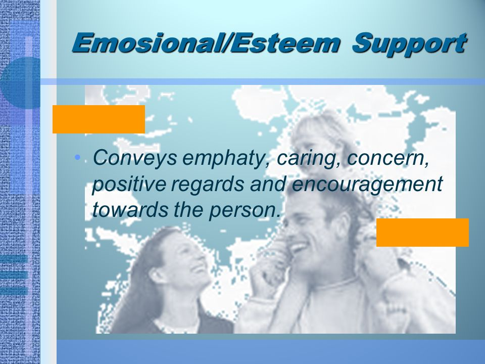 Emosional/Esteem Support Conveys emphaty, caring, concern, positive regards and encouragement towards the person.