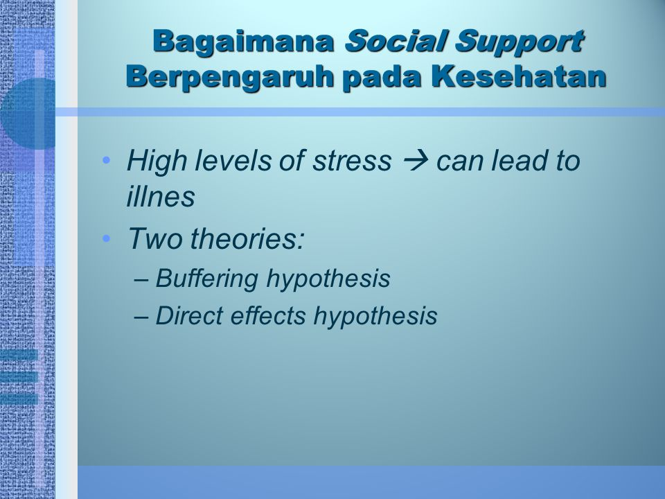Bagaimana Social Support Berpengaruh pada Kesehatan High levels of stress  can lead to illnes Two theories: –Buffering hypothesis –Direct effects hyp
