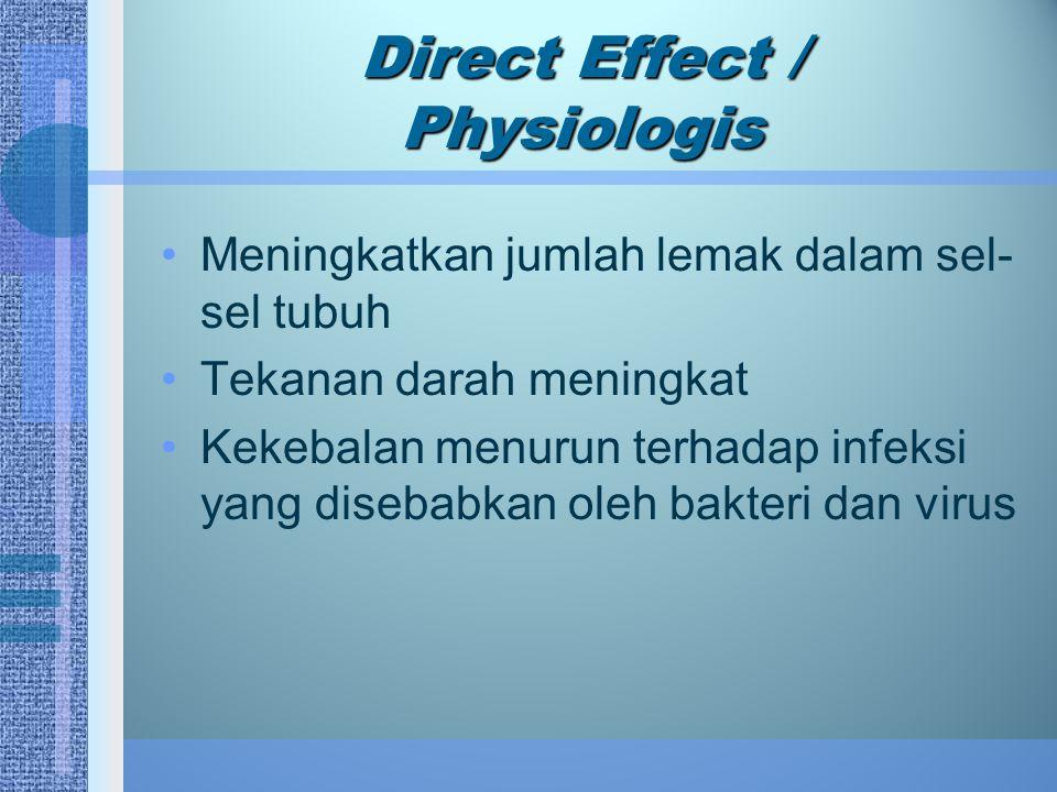 Direct Effect / Physiologis Meningkatkan jumlah lemak dalam sel- sel tubuh Tekanan darah meningkat Kekebalan menurun terhadap infeksi yang disebabkan oleh bakteri dan virus