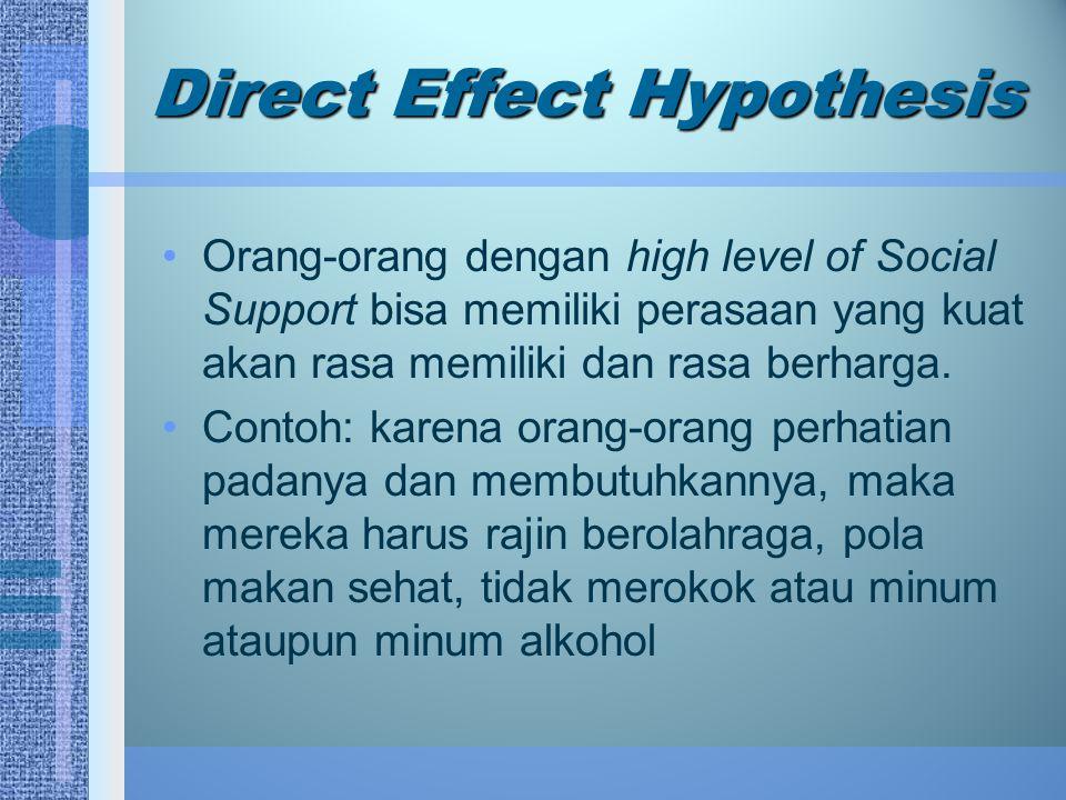 Direct Effect Hypothesis Orang-orang dengan high level of Social Support bisa memiliki perasaan yang kuat akan rasa memiliki dan rasa berharga. Contoh