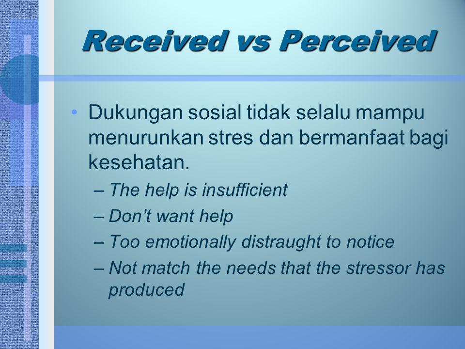 Received vs Perceived Dukungan sosial tidak selalu mampu menurunkan stres dan bermanfaat bagi kesehatan. –The help is insufficient –Don't want help –T