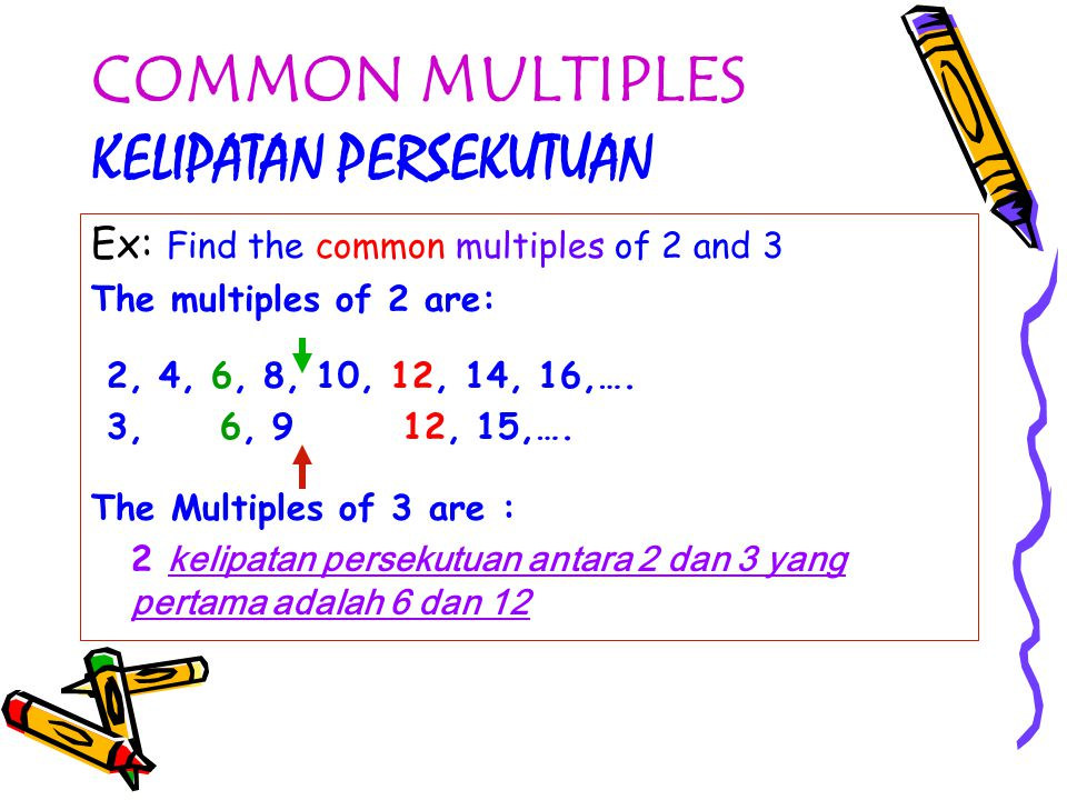 COMMON MULTIPLES KELIPATAN PERSEKUTUAN Ex: Find the common multiples of 2 and 3 The multiples of 2 are: 2, 4, 6, 8, 10, 12, 14, 16,….