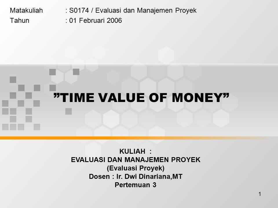 1 Matakuliah: S0174 / Evaluasi dan Manajemen Proyek Tahun: 01 Februari 2006 TIME VALUE OF MONEY KULIAH : EVALUASI DAN MANAJEMEN PROYEK (Evaluasi Proyek) Dosen : Ir.