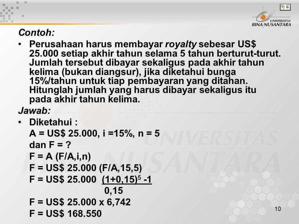 10 Contoh: Perusahaan harus membayar royalty sebesar US$ 25.000 setiap akhir tahun selama 5 tahun berturut-turut.