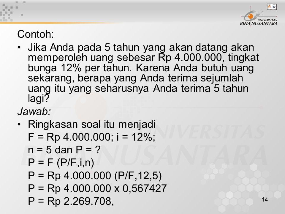 14 Contoh: Jika Anda pada 5 tahun yang akan datang akan memperoleh uang sebesar Rp 4.000.000, tingkat bunga 12% per tahun.