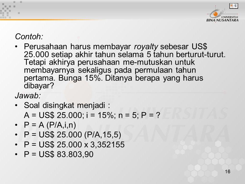 16 Contoh: Perusahaan harus membayar royalty sebesar US$ 25.000 setiap akhir tahun selama 5 tahun berturut-turut.