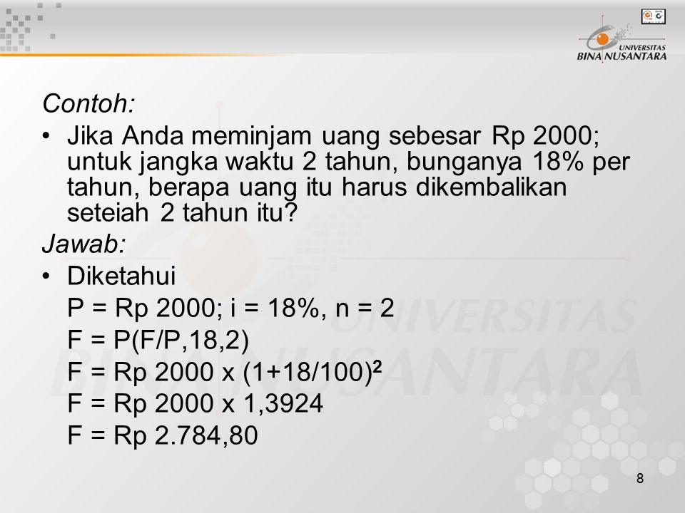 8 Contoh: Jika Anda meminjam uang sebesar Rp 2000; untuk jangka waktu 2 tahun, bunganya 18% per tahun, berapa uang itu harus dikembalikan seteiah 2 tahun itu.