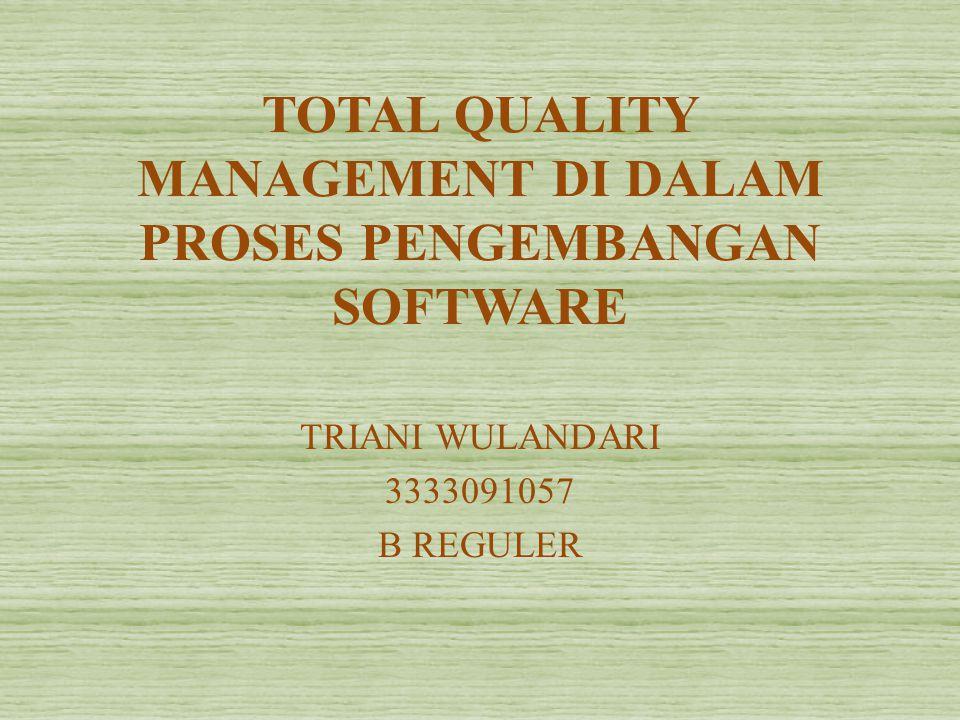 TOTAL QUALITY MANAGEMENT DI DALAM PROSES PENGEMBANGAN SOFTWARE TRIANI WULANDARI 3333091057 B REGULER