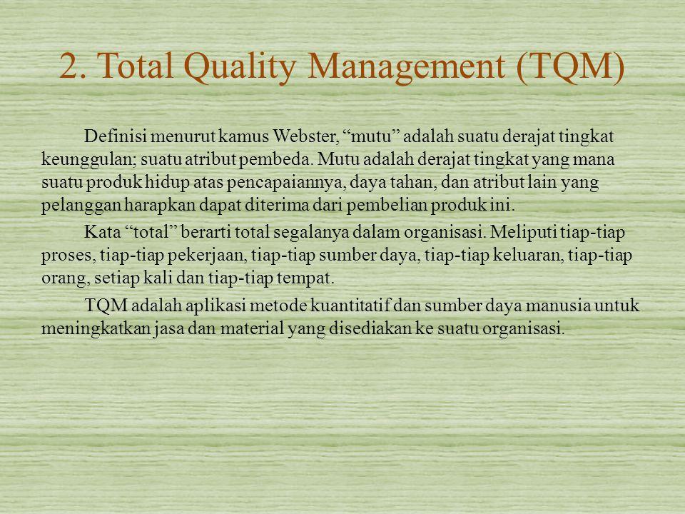 """2. Total Quality Management (TQM) Definisi menurut kamus Webster, """"mutu"""" adalah suatu derajat tingkat keunggulan; suatu atribut pembeda. Mutu adalah d"""
