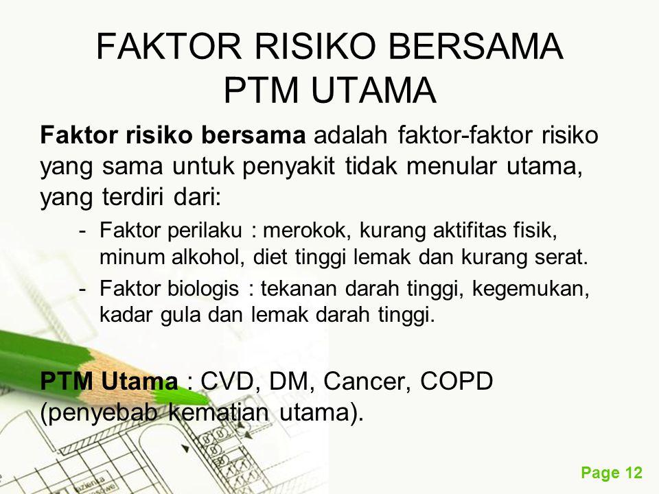 Page 12 FAKTOR RISIKO BERSAMA PTM UTAMA Faktor risiko bersama adalah faktor-faktor risiko yang sama untuk penyakit tidak menular utama, yang terdiri dari: -Faktor perilaku : merokok, kurang aktifitas fisik, minum alkohol, diet tinggi lemak dan kurang serat.