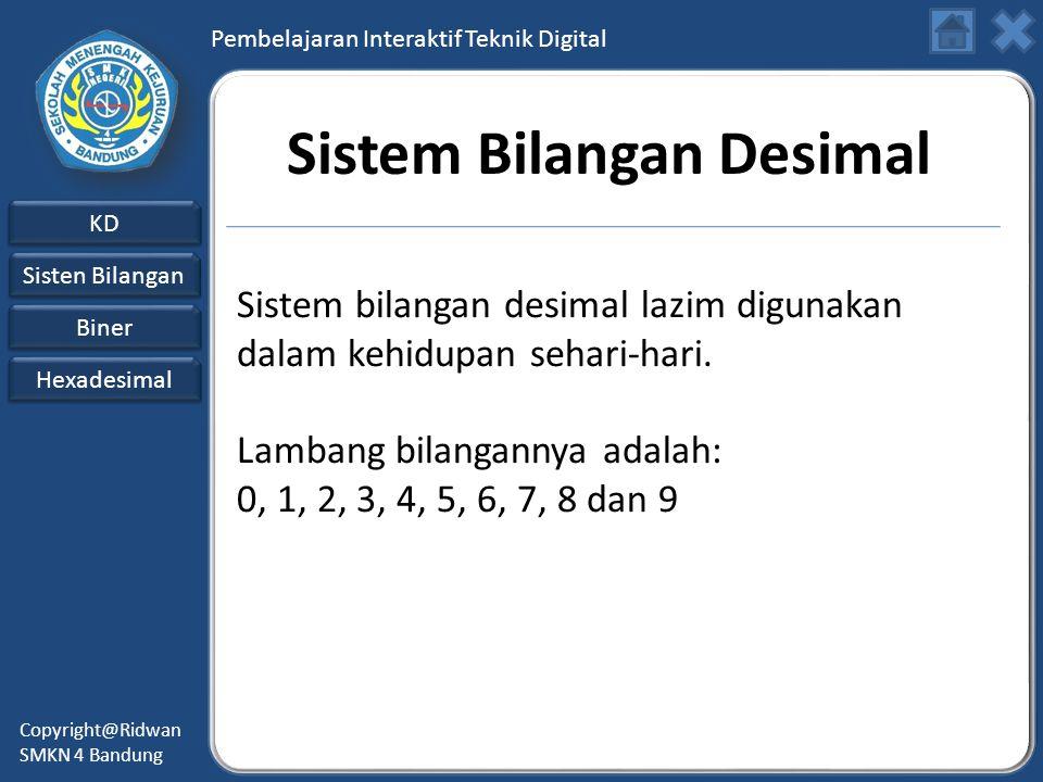 Pembelajaran Interaktif Teknik Digital KD Sisten Bilangan Sisten Bilangan Biner Hexadesimal Copyright@Ridwan SMKN 4 Bandung Sistem Bilangan Desimal Sistem bilangan desimal lazim digunakan dalam kehidupan sehari-hari.