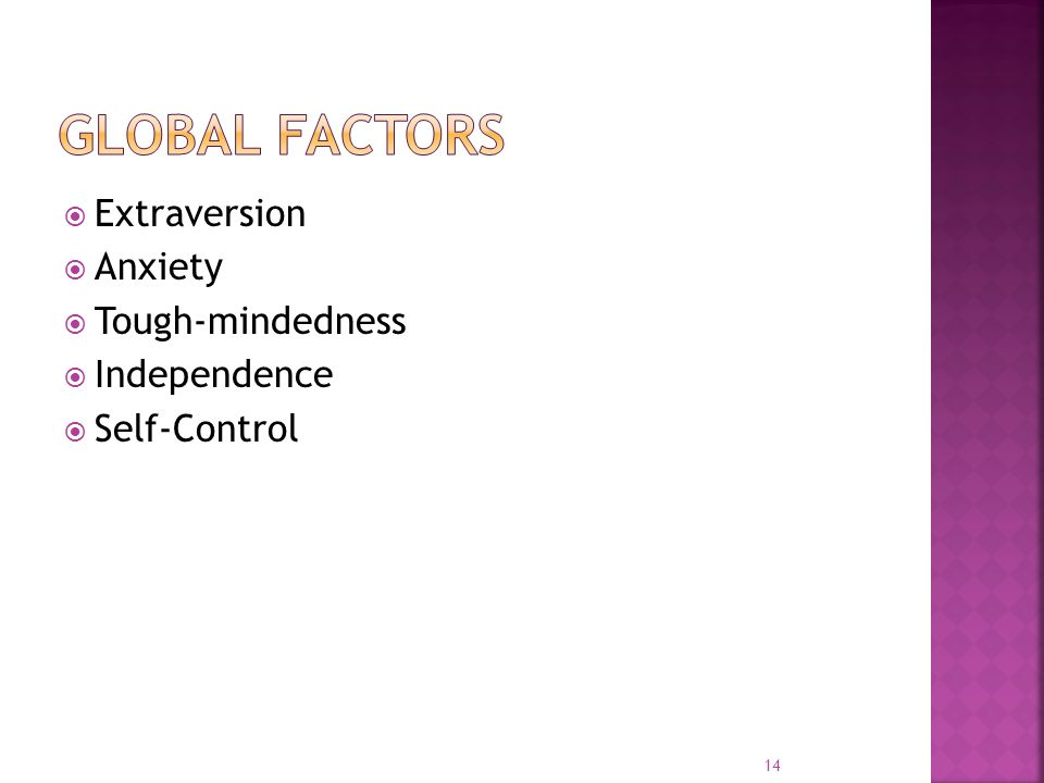  Extraversion  Anxiety  Tough-mindedness  Independence  Self-Control 14