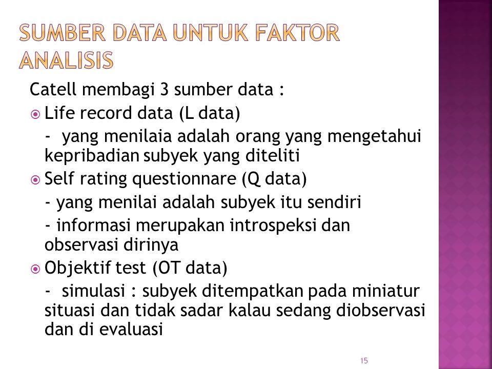 Catell membagi 3 sumber data :  Life record data (L data) - yang menilaia adalah orang yang mengetahui kepribadian subyek yang diteliti  Self rating