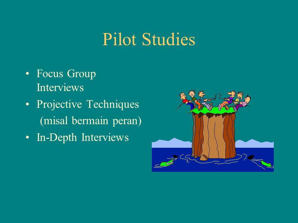Pilot Studies Focus Group Interviews Projective Techniques (misal bermain peran) In-Depth Interviews