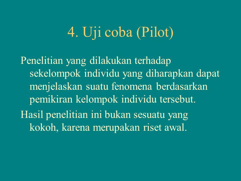4. Uji coba (Pilot) Penelitian yang dilakukan terhadap sekelompok individu yang diharapkan dapat menjelaskan suatu fenomena berdasarkan pemikiran kelo