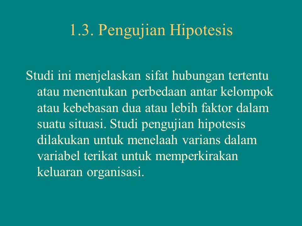 1.3. Pengujian Hipotesis Studi ini menjelaskan sifat hubungan tertentu atau menentukan perbedaan antar kelompok atau kebebasan dua atau lebih faktor d
