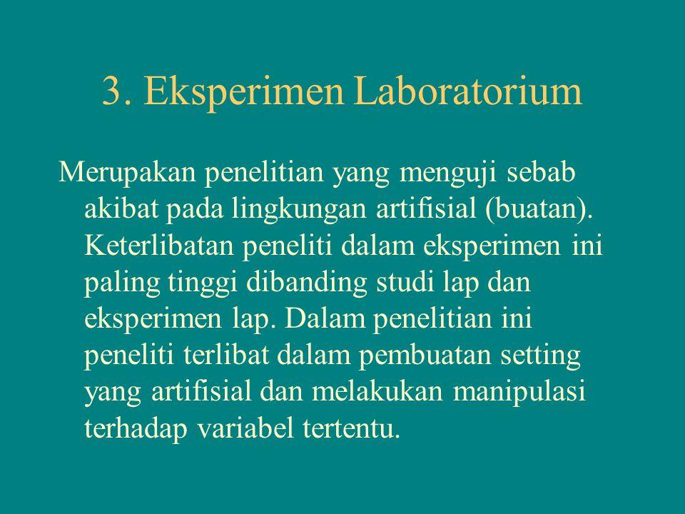 3. Eksperimen Laboratorium Merupakan penelitian yang menguji sebab akibat pada lingkungan artifisial (buatan). Keterlibatan peneliti dalam eksperimen