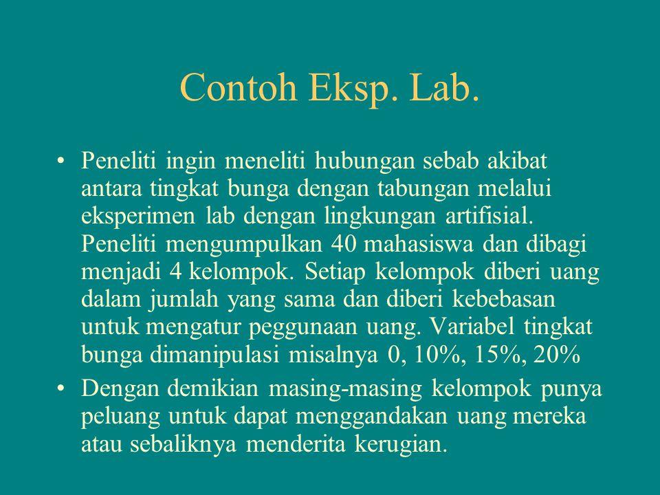 Contoh Eksp. Lab. Peneliti ingin meneliti hubungan sebab akibat antara tingkat bunga dengan tabungan melalui eksperimen lab dengan lingkungan artifisi