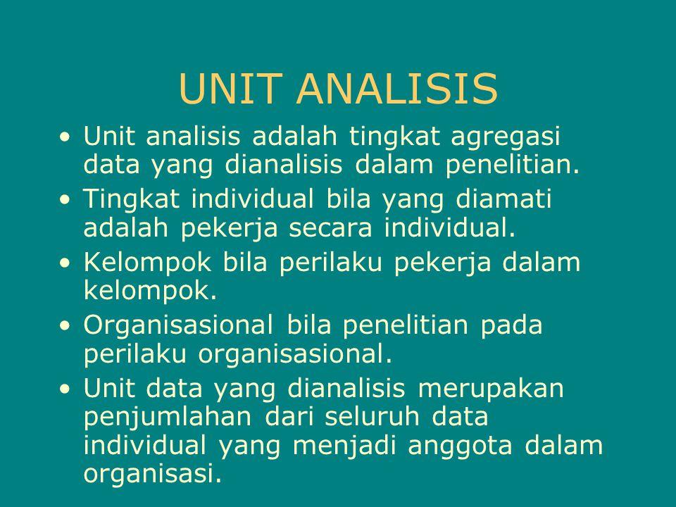 UNIT ANALISIS Unit analisis adalah tingkat agregasi data yang dianalisis dalam penelitian. Tingkat individual bila yang diamati adalah pekerja secara