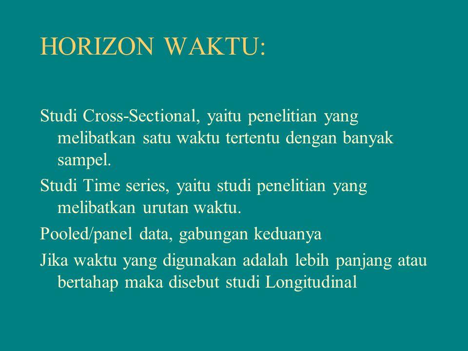 HORIZON WAKTU: Studi Cross-Sectional, yaitu penelitian yang melibatkan satu waktu tertentu dengan banyak sampel. Studi Time series, yaitu studi peneli