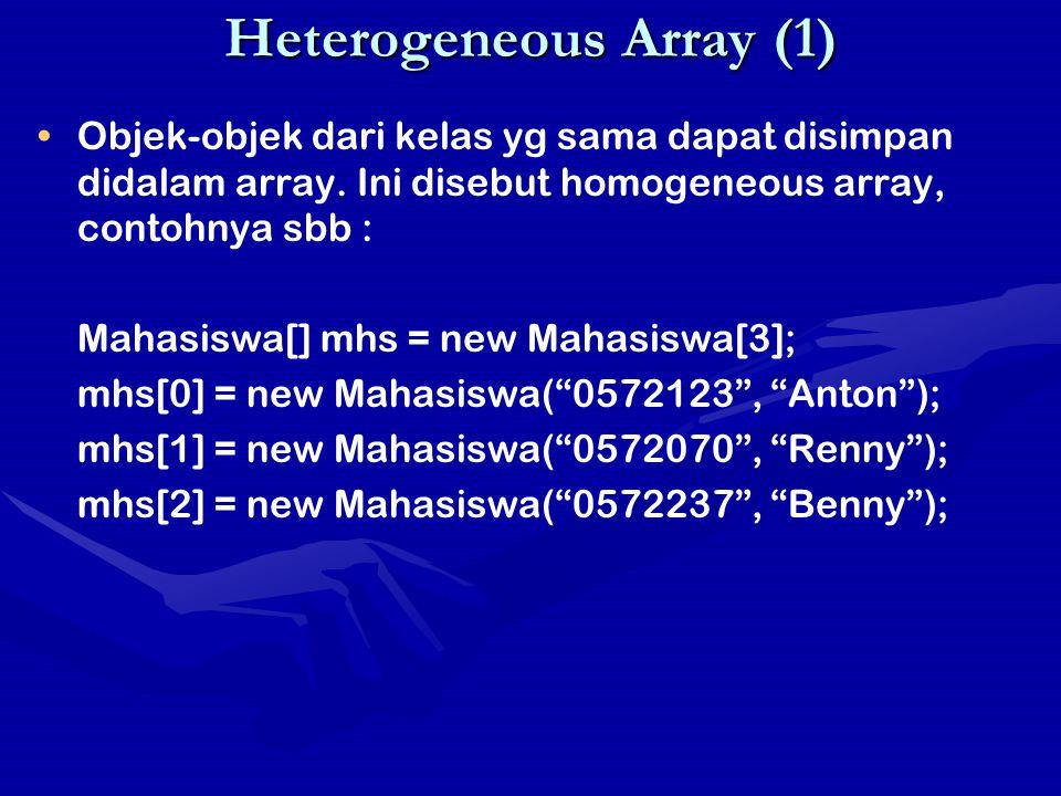 Heterogeneous Array (1) Objek-objek dari kelas yg sama dapat disimpan didalam array. Ini disebut homogeneous array, contohnya sbb : Mahasiswa[] mhs =