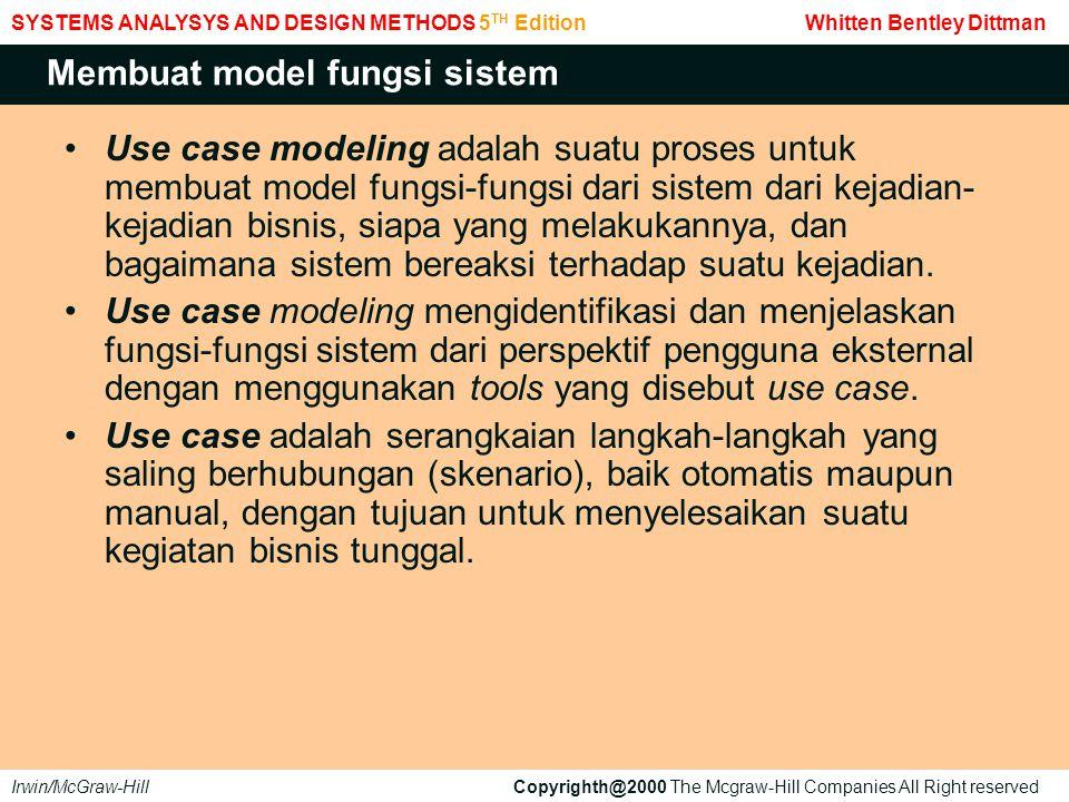 Use case menggambarkan fungsi-fungsi sistem dari perspektif pengguna luar.