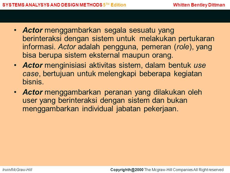 1.Sebagai dasar untuk membantu mengidentifikasi objek-objek dan hubungan tingkat tinggi dan tanggung jawab masing-masing.