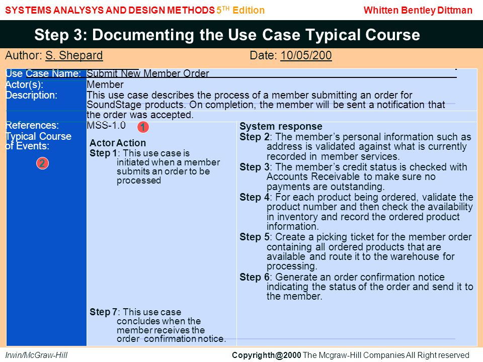 SYSTEMS ANALYSYS AND DESIGN METHODS 5 TH Edition Whitten Bentley Dittman Irwin/McGraw-Hill Copyrighth@2000 The Mcgraw-Hill Companies All Right reserved Step 3: Documenting the Use Case Typical Course (concluded) AlternateStep 2: If the club member has indicated an address or telephone number change on the Courses:promotion order, update the club member's record with the new information.